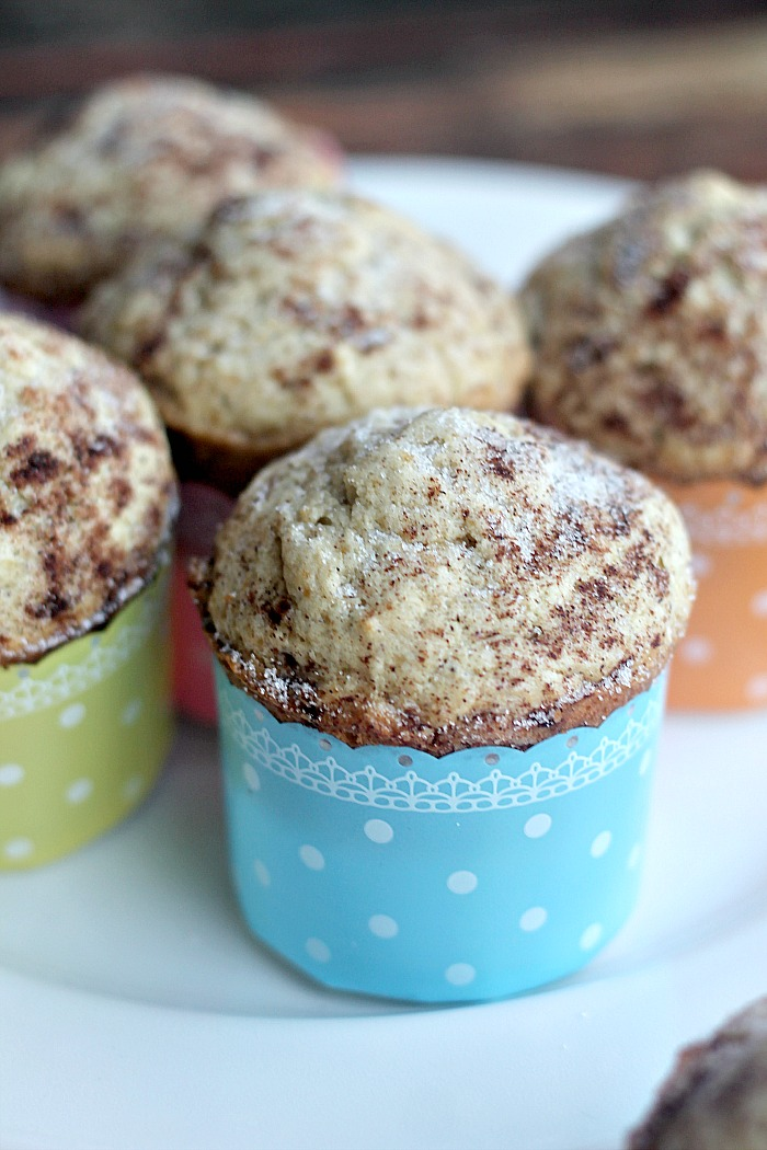 All the goodness of the cookie in this moist delicious snickerdoodle muffin.