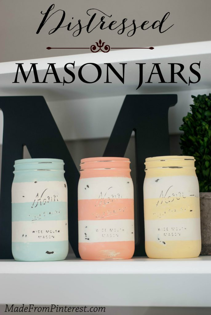 Distressed Mason Jars in colors that are perfect for upcoming spring!