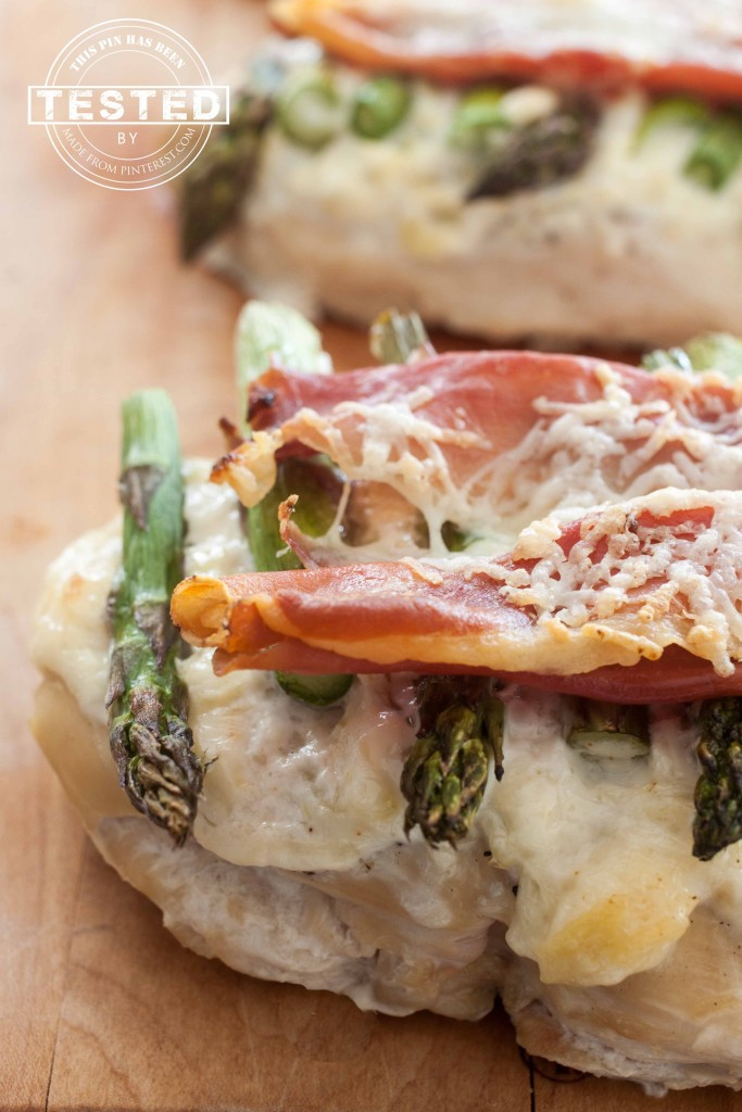 Triple A Chicken Bake - Artichokes, Asparagus and Asiago cheese topped chicken. Crunchy Prosciutto topping makes this taste amazing!