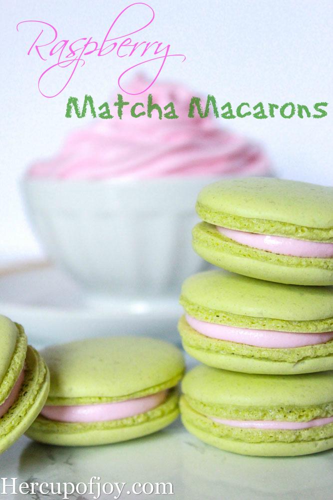 Raspberry Matcha Macarons HerCupofJoy