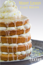 Moist Lemon Cake - If you love lemon this cake is for you! The cake is light and fluffy, topped with a sweet, tangly lemon glaze and whip cream. Pure lemon heaven!