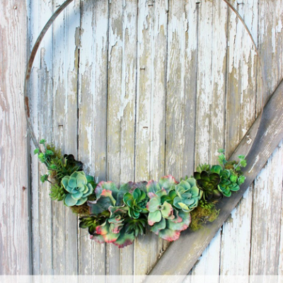 Wine Barrel Ring Succulent Wreath
