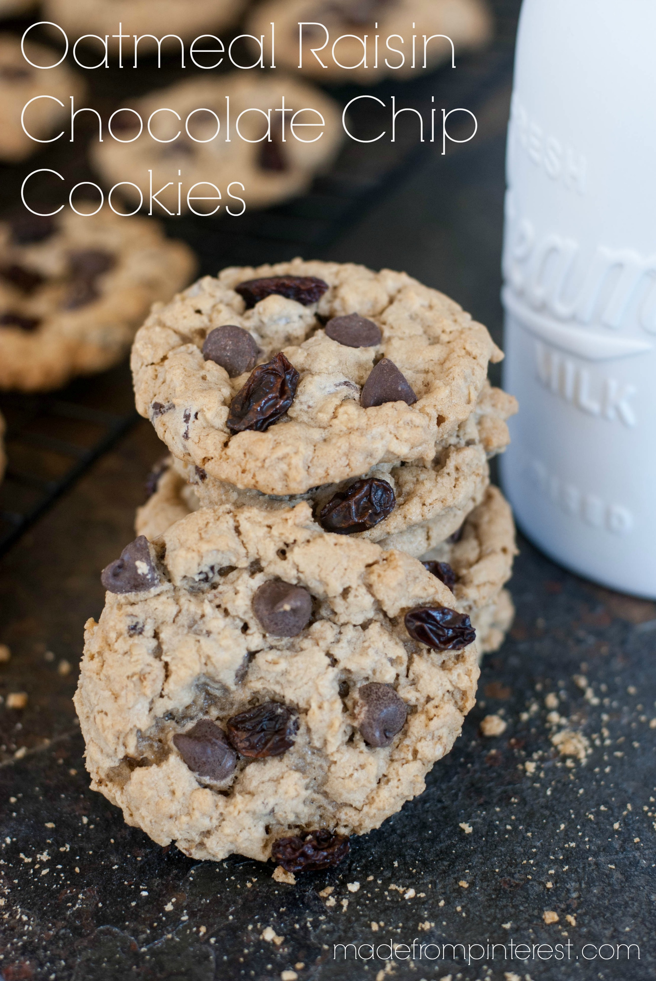 This Oatmeal Raisin Chocolate Chip Cookie recipe makes a MONSTER BATCH of cookies! Perfect for parties.