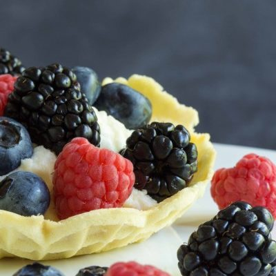 Mascarpone Fruit Filled Pizzelle Cups