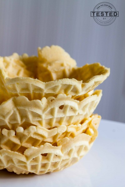Mascarpone cream filled pizzelle cups topped with berries. Now that's a summer dessert!