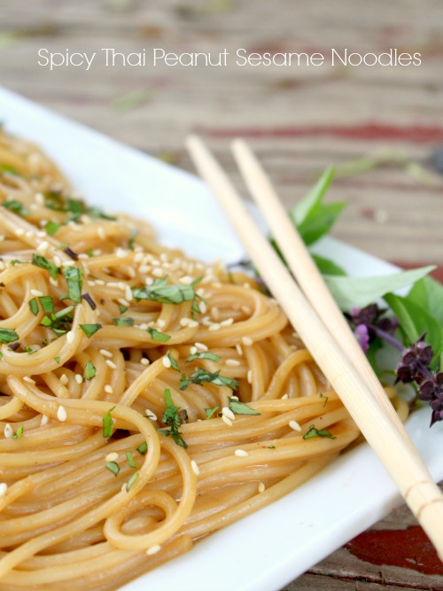 spicy thai peanut sesame noodles are easy to make and so good!