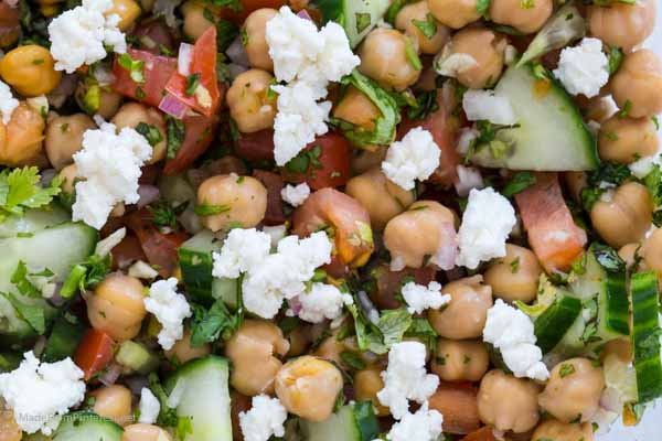 Looking for the perfect side to go with dinner? Found it! Cucumber Tomato Chickpea Salad is delicious!