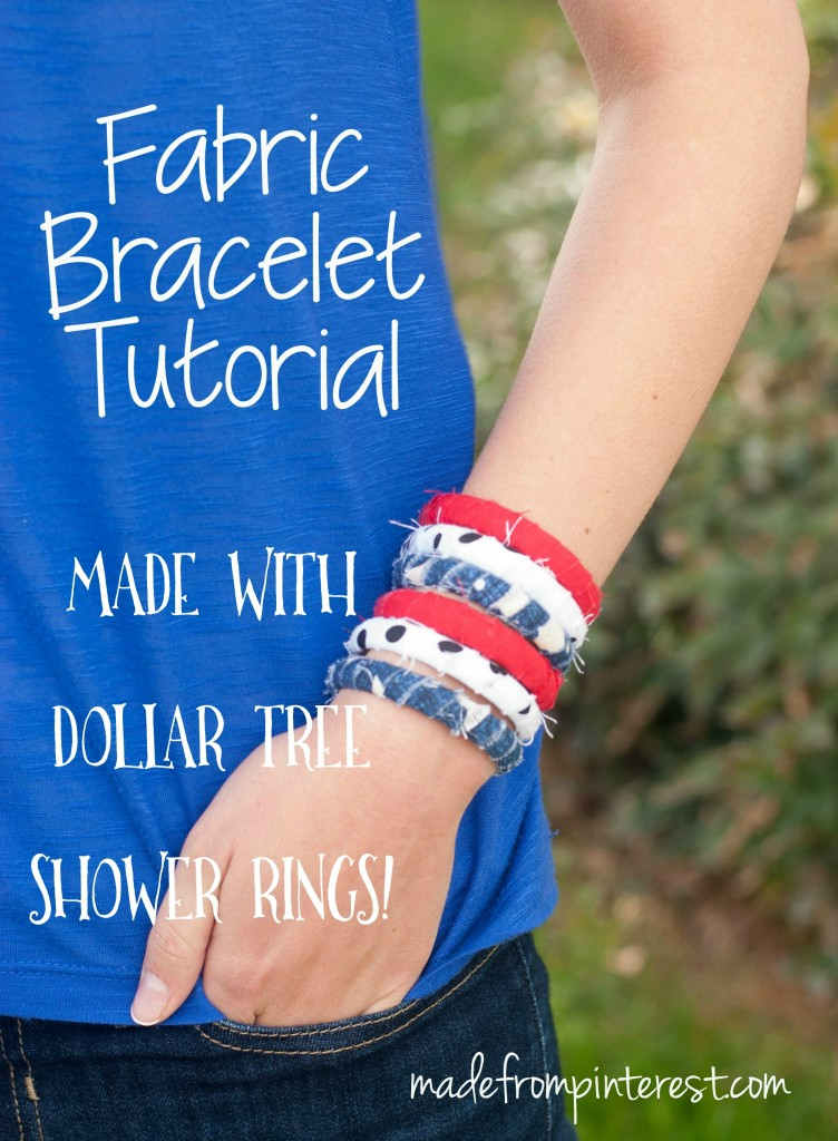 These fabric bracelets are SO cheap to make!  Your daughters are going to want to make some in every color!  Made with plastic shower rings from the Dollar Tree, you can get a pack of 12 for only $1.
