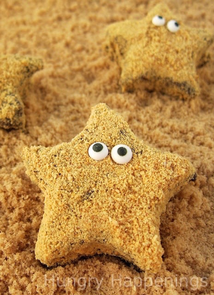 Starfish S'mores! No really, these are made of chocolate, marshmallows, and graham crackers!