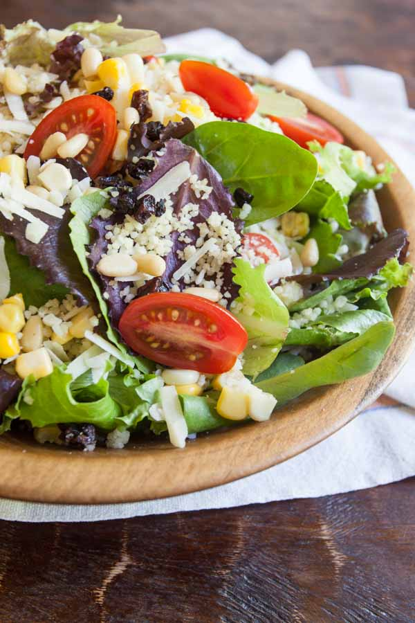 This Italian Salad is filled with nuts, veggies, asiago cheese and couscous. Did I mention the dried blueberries? You HAVE to try this! Instant favorite!