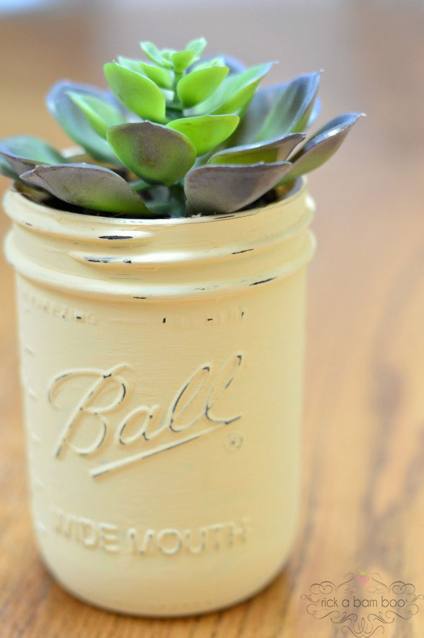 Chalk Painted Succulent Jar