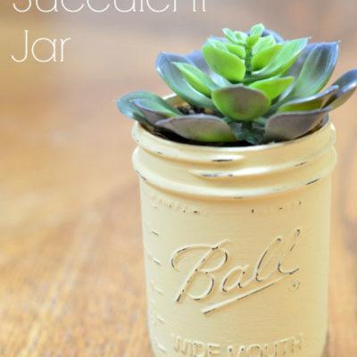 Chalk Painted Succulent Jars