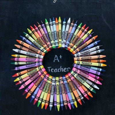 Back to School Teacher Crayon Wreath