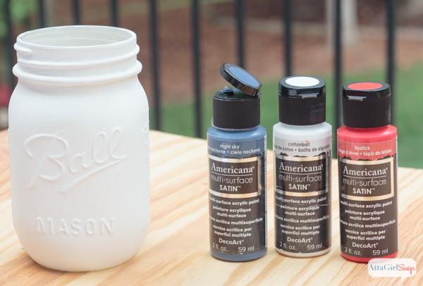 Atlanta Braves Inspired Painted Mason Jar