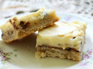 Gooey butter bars with chocolate chips are rich and delicious
