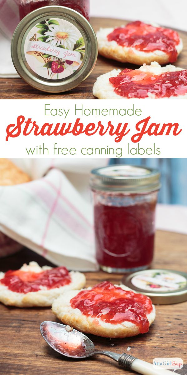 A delicious and easy homemade strawberry jam recipe, plus free printable canning labels for a variety of jams, jellies, preserves and pickles.