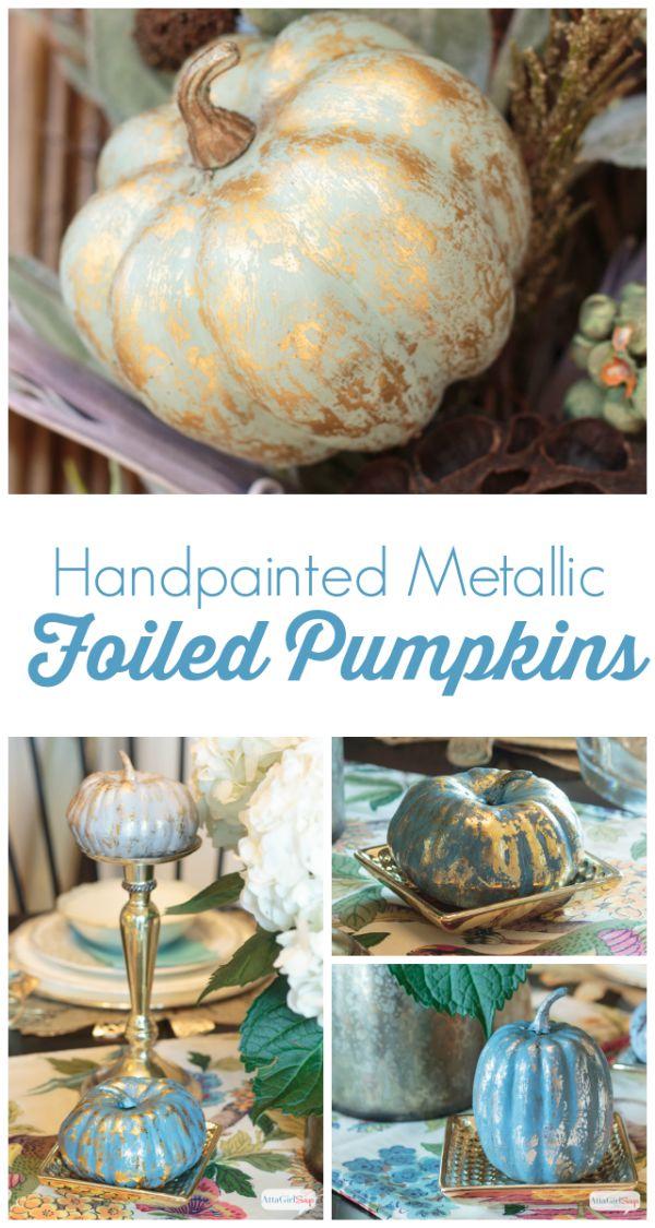 Painted Metallic Foil Pumpkins - TGIF - This Grandma is Fun