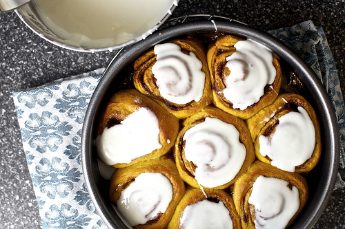 Cinnamon rolls are my favorite breakfast, and spicing them up with pumpkin is perfect for the fall.