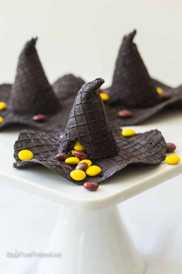 Professor McGonagall Hats made from homemade waffle cones with a candy surprise inside! Will be great for Harry Potter themed parties.