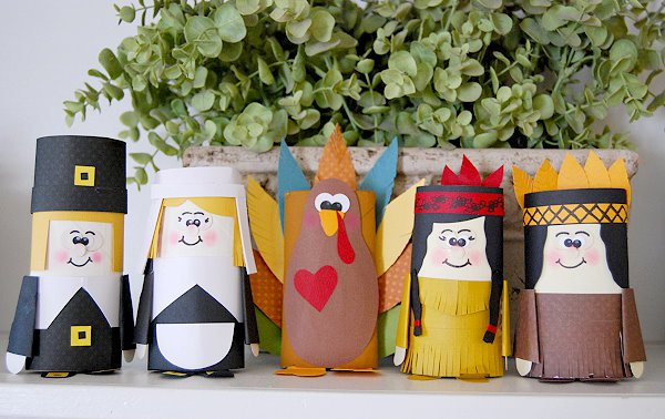 Paper Tube Pilgrims are a great way to recycle!