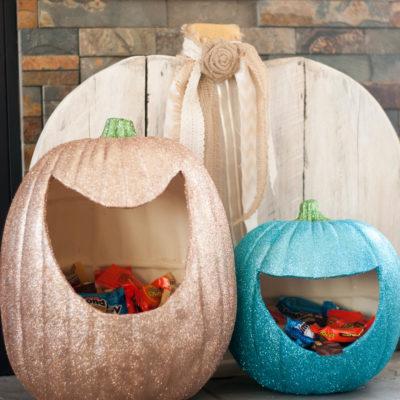 Glitter Pumpkin Candy Holders