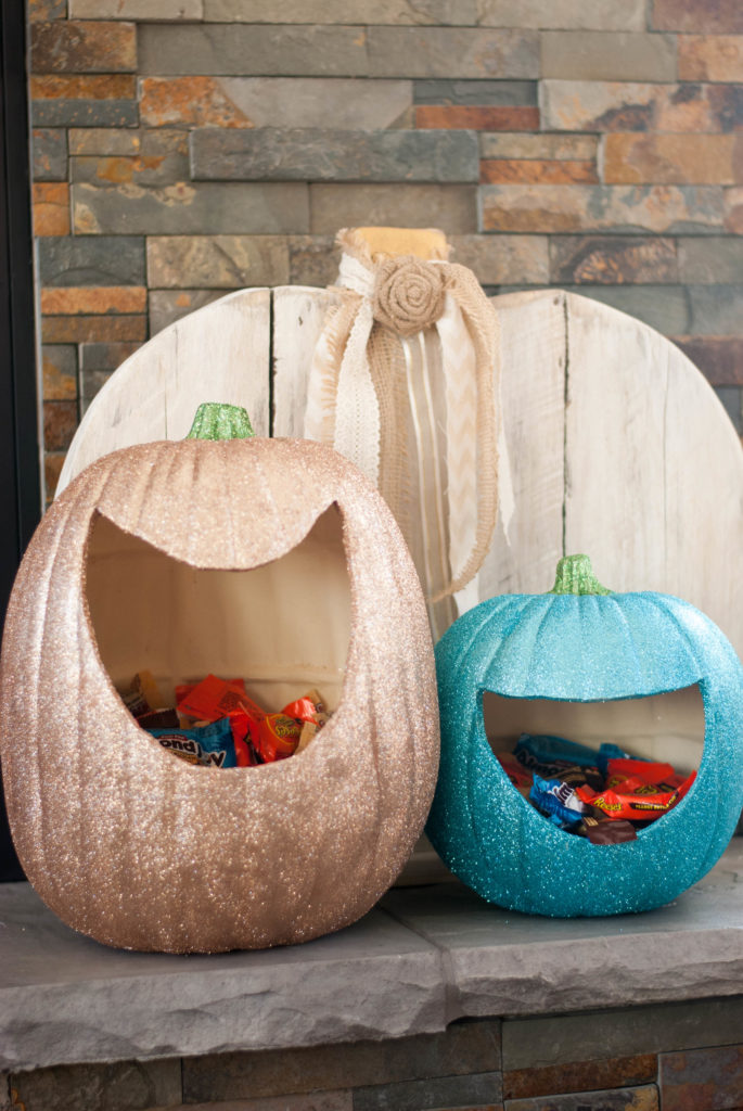 Made with craft pumpkins, these are super easy to make and really add a sparkle to your holidays!