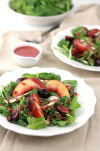Sweet juicy nectarines and tart cherries, what a combination for this salad!