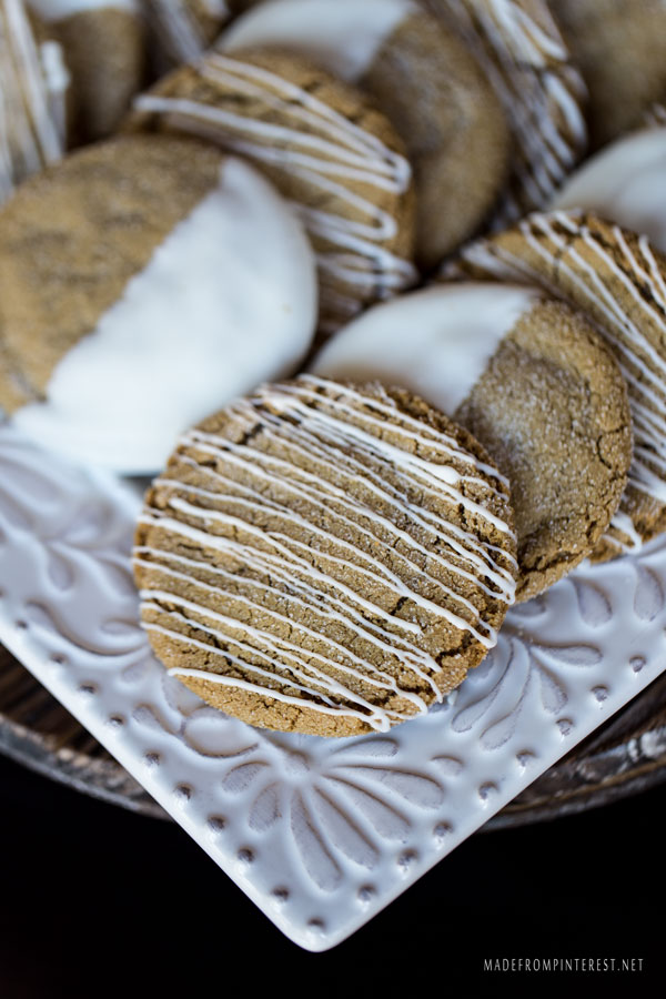 These are the BEST Gingersnap cookies I have ever made! They are crispy on the outside and chewy on the inside. The white chocolate makes them irresistible, make a double batch because these will go FAST!
