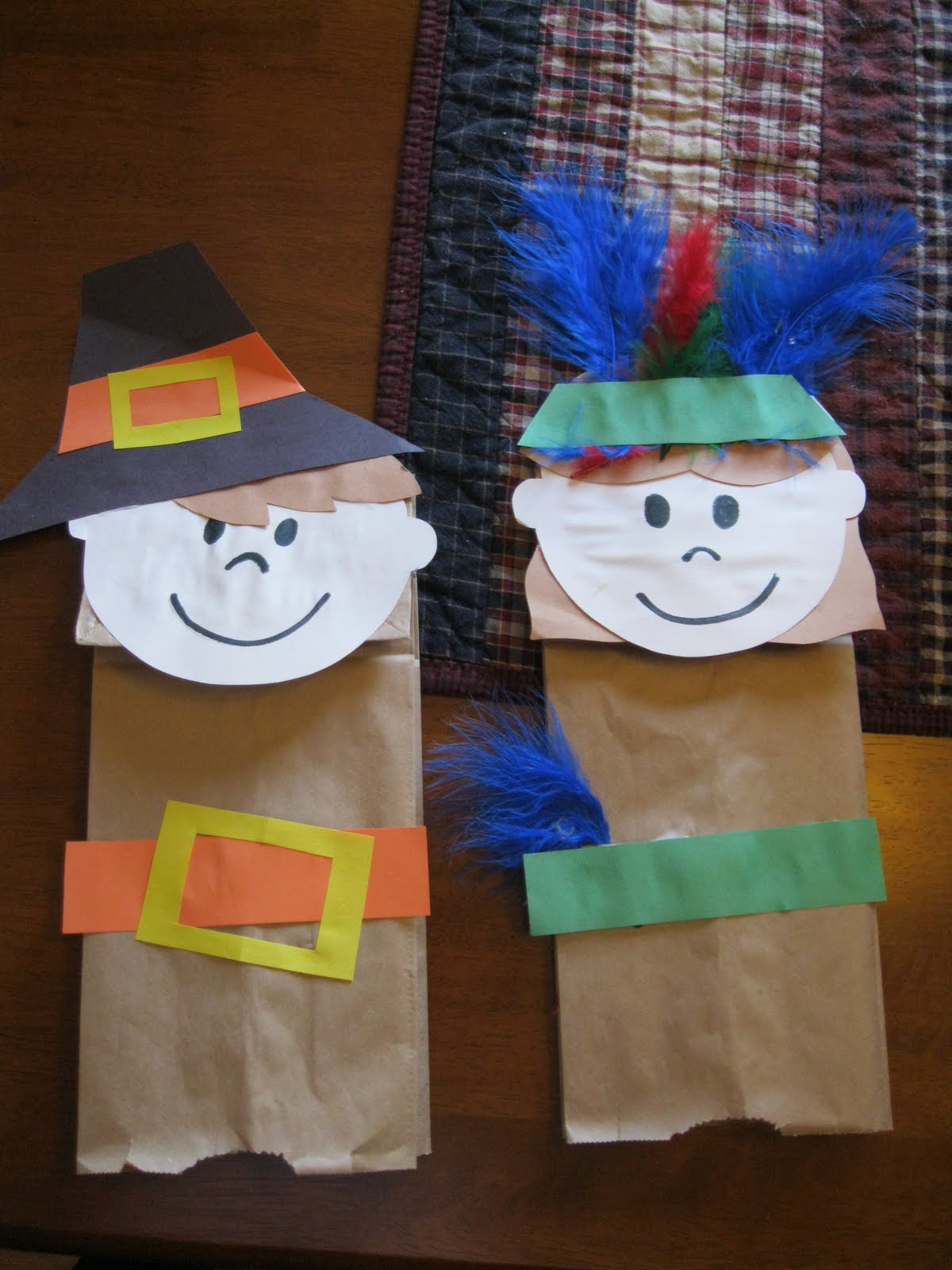 Thanksgiving Pilgrim and Indian bags can get stuffed with fun treats once they are complete.