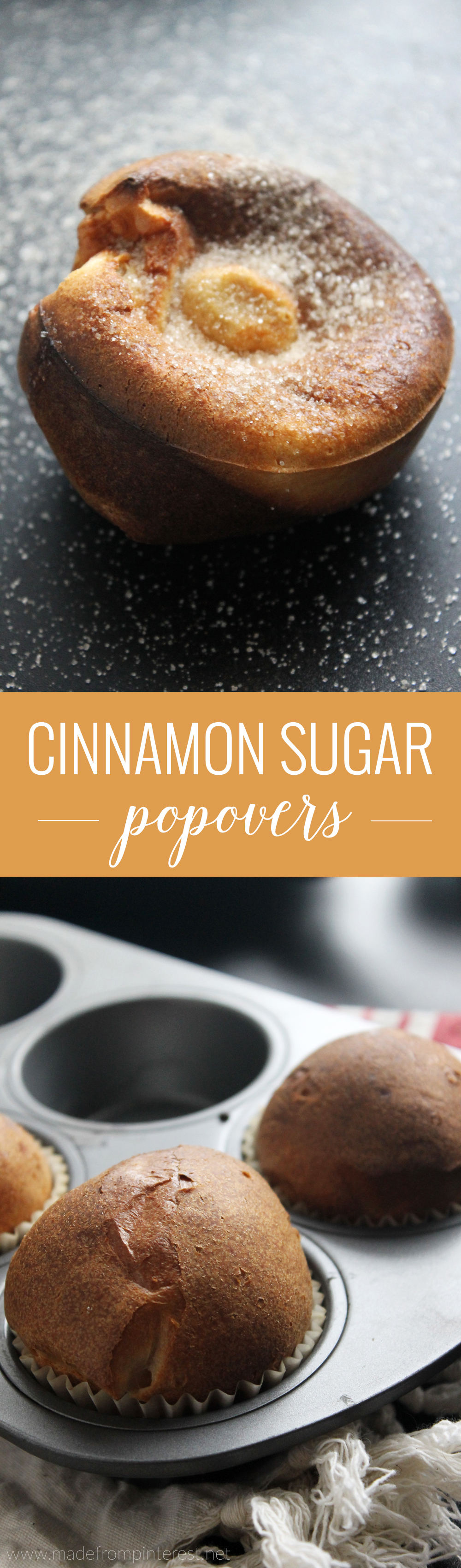 These easy-to-make cinnamon sugar popovers are crisp on the outside and light and eggy on the inside! Covered in buttery cinnamon sugar, these popovers make for a perfect fall breakfast or dessert.