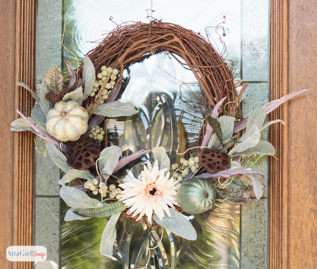 Fall Grapevine & Pumpkins Wreath from Atta Girl Says