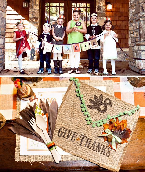 Cute colors for the children at Thanksgiving and tons of party ideas.