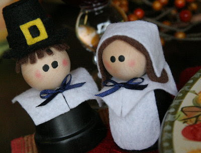 These Clay Pot Pilgrims don't hold plants but they are adorable decorations.