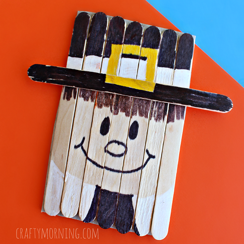 This Popsicle Stick Pilgrim is easy so most kids can do it.