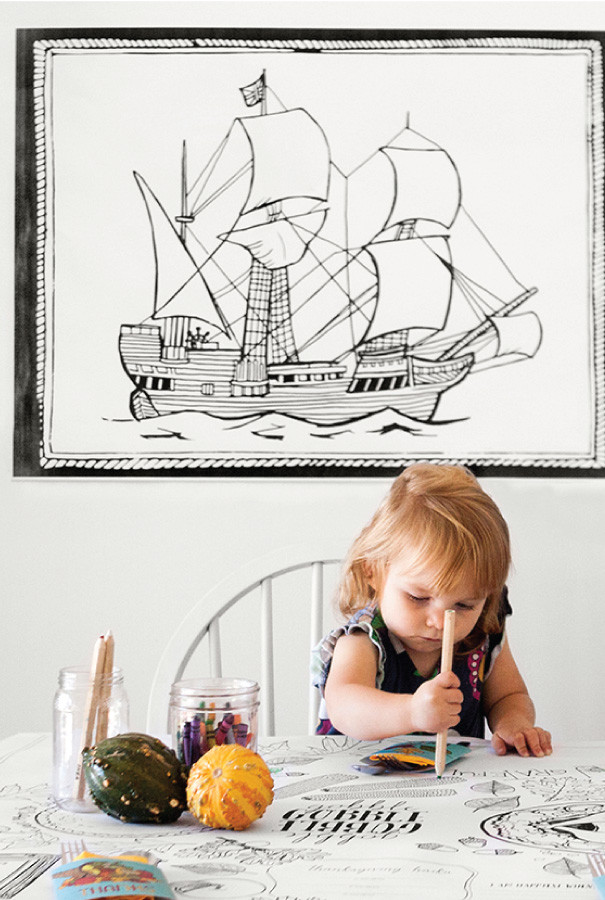 Let the kids have fun by coloring and drawing on the tablecloth and not get into trouble for it!