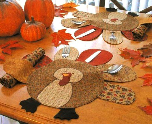 Adorable turkey placemat that holds silverware.