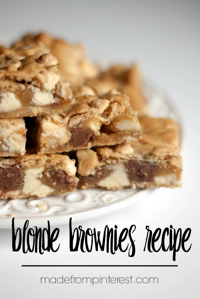 These chunky blonde brownies are full of milk chocolate chips, white chocolate chips and macadamia nuts. A pan of these never lasts for long.