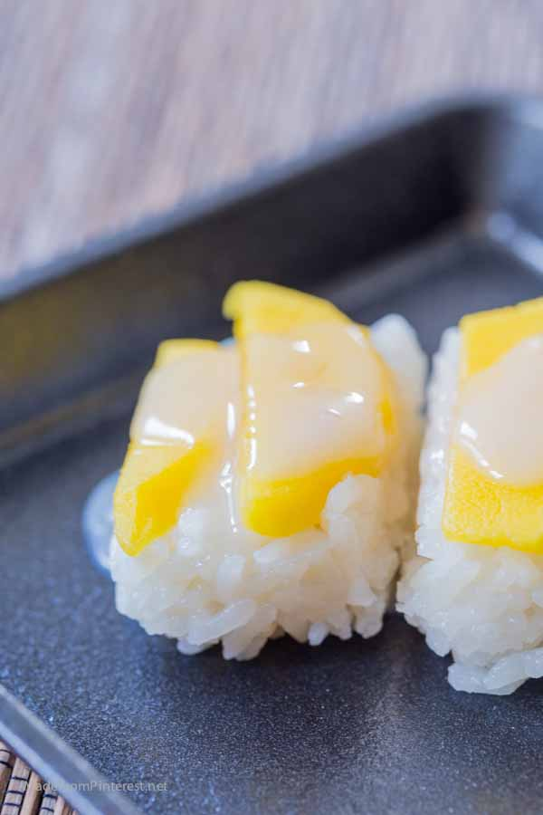 Sweet Thai Coconut Mango Sticky Rice Bites - This is a simplified recipe that has great flavor. Gluten Free and almost paleo! First time I had this I fell in love! Had to find a way to make it at home with easy to find ingredients. This is easy and delish!