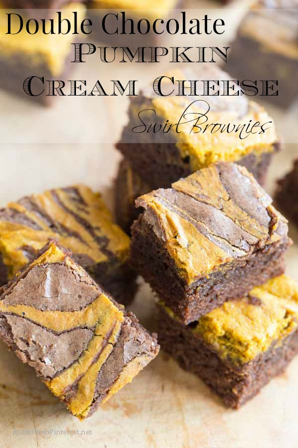 Double Chocolate Pumpkin Cream Cheese Brownies made from simple ingredients with spectacular results will be your new fall favorite! Totally in love with this flavor combination. Made so many batches I practically have the recipe memorized!
