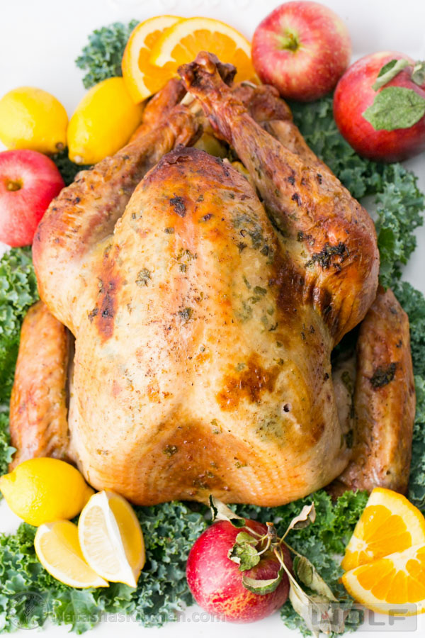 Recipe for a juicy roasted turkey.