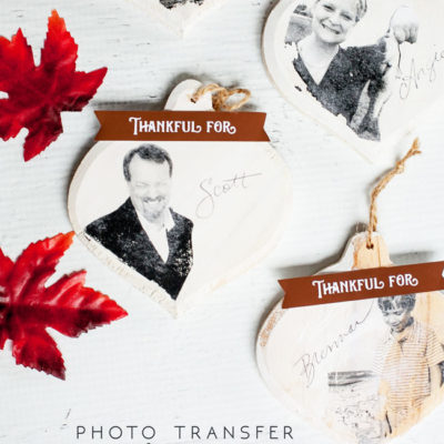 Photo Transfer Ornament Name Cards for the Holidays