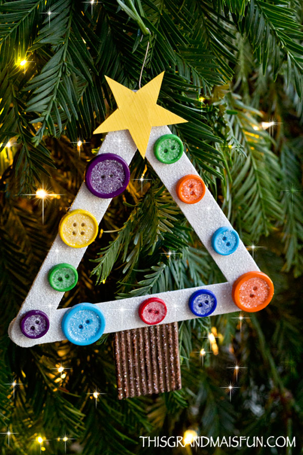 DIY Kids Craft Stick Christmas Tree Ornament - TGIF - This Grandma ...