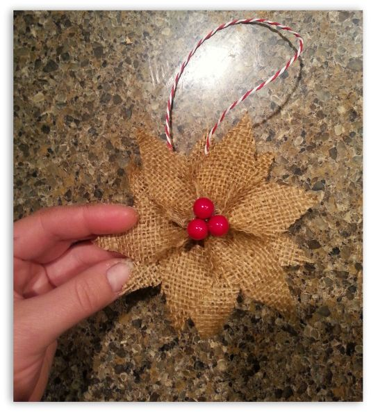 how-to-make-burlap-poinsettia-christmas-ornaments-christmas-decorations-crafts-seasonal-holiday-decor