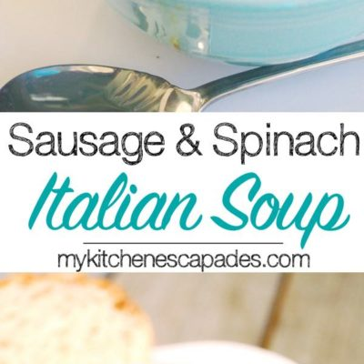 I present this yummy Sausage and Spinach Italian Soup to fill that need! Loaded with Italian sausage, cannellini beans, spinach and potatoes.