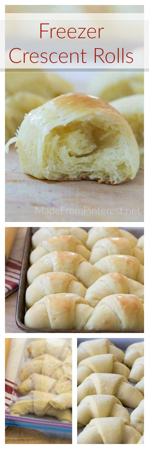 You do not have to spend your entire day in the kitchen to have a great meal! One of my favorite parts of dinner is warm, freshly baked rolls right out of the oven. These Freezer Crescent rolls are amazing! Everyone flips over them. But getting the timing right and finding time to make homemade rolls when there is so much cooking going on can get kind of crazy. These Freezer Crescent Rolls are delicious, look beautiful, and can be made 2-3 weeks ahead of time and stored in your freezer! Make these ahead = make your life easier.