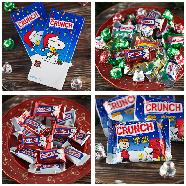 The beloved PEANUTS gang are back! Charlie Brown, Patty, Snoopy, Woodstock, Linus, Schroder, Sally and Pig-Pin have returned this holiday season in The PEANUTS Movie. Nestle Crunch is celebrating their return in an array of fun whimsical treats adorned in festive holiday graphics. The holiday collection includes the NESTLÉ CRUNCH Gift Cardholder Bar perfect for a stocking stuffer. The oversized CRUNCH 1 lb. Candy Bar will surprise and delight candy lovers of any age. Fill your decorative bowls with the NESTLÉ CRUNCH Jingles and NESTLÉ CRUNCH Miniatures. I decided to celebrate the return of The PEANUTS gang by creating a new recipe, Peppermint Mousse Parfait Cups. They are a perfect holiday treat that you and the kids can whip up fast. Fluffy light peppermint mousse layered between crumbled NESTLE CRUNCH bars, topped with whip cream and a mini crunch bar. I think it is the kind of dessert Lucy would love! #ad