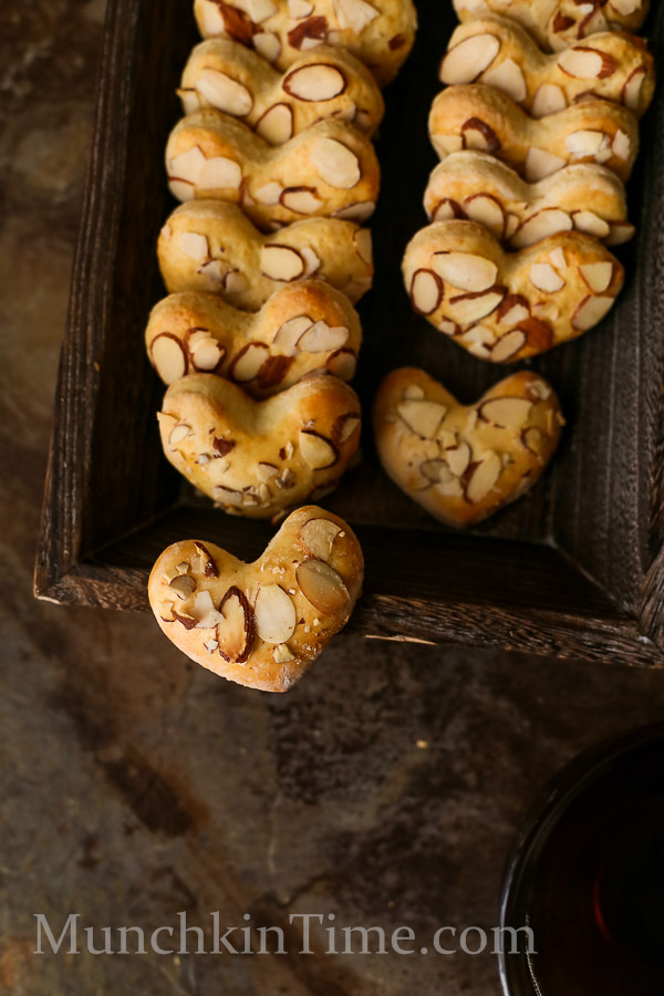 I Heart You Almonds Cookies for Valentines Day by Love Keil -- www.munchkintime.com