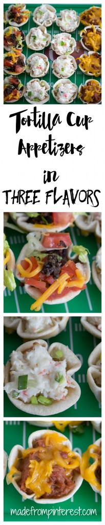 We have the answer to the question, what am I going to make for game day? In no time at all, you can have these Tortilla Cup Appetizers cooked up and hot and ready for your guests. Fill them with anything that you like, but we chose Taco, Crab and Cream Cheese and BBQ Pork. Your family and guests will love them.