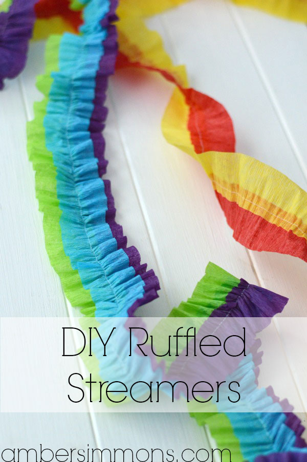 DIY Ruffled Streamers Tutorial by Amber Simmons of ambersimmons.com | These easy handmade party decorations add a little something extra to any occasion. Make for birthdays, holidays, the Superbowl, or make them in your favorite colors for everyday decor. They also make super cute backdrops for all your special photos.