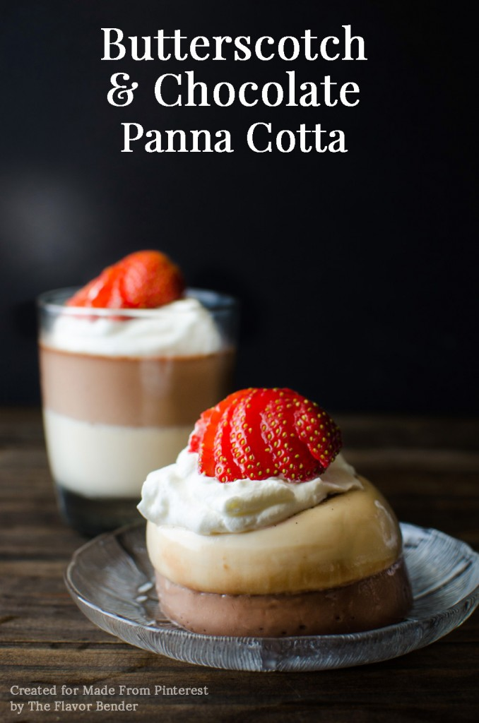 Butterscotch and Chocolate Panna Cotta: An easy to make layered Panna Cotta dessert, perfect as an everyday dessert or for a special occasion!
